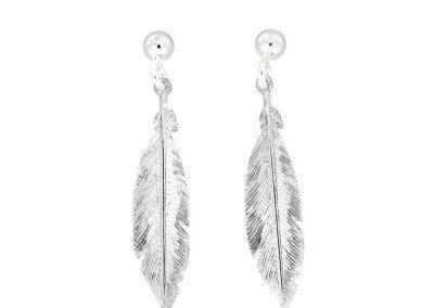 AZ1 28994 silver feather earrings