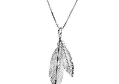 AZ2 29257 silver double feather pendant