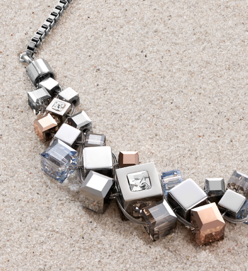 GEOCUBE® Cluster. Handmade from shimmering haematite with a finishing touch of titanium oxide and sparkling Swarovski® Crystals